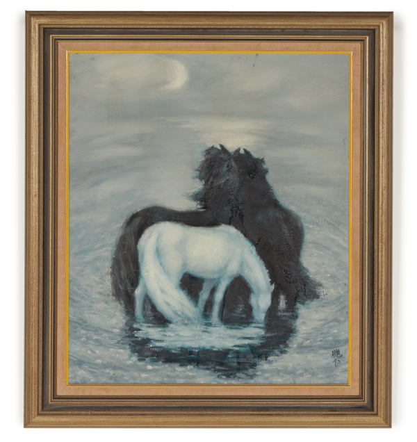 Lot 21 - CHINESE SCHOOL (20TH CENTURY) - HORSES IN THE MOONLIGHT