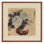 BAI QU (CHINESE, B.1939) - VASE OF PEONIES