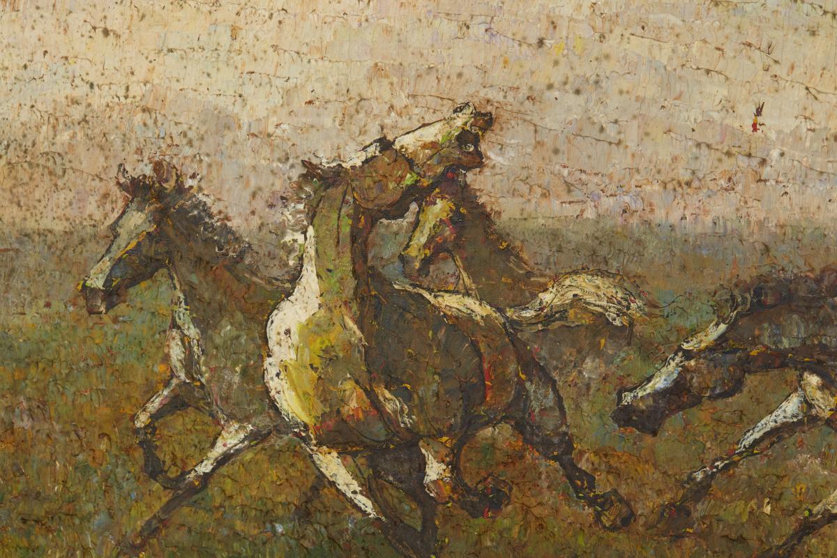 SOUTHEAST ASIA SCHOOL (20TH CENTURY) - RUNNING HORSES - Image 2 of 2