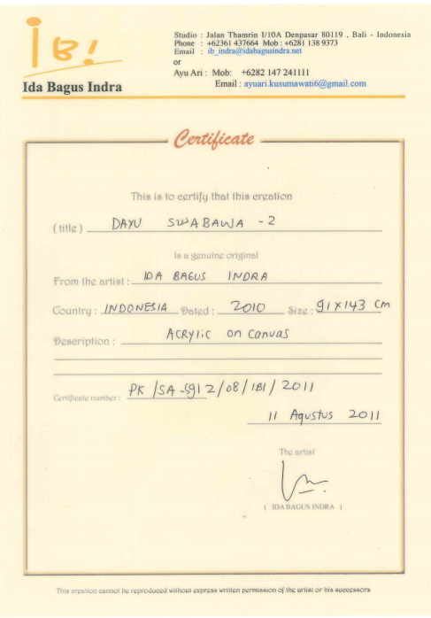 IDA BUGUS INDRA (INDONESIAN, B.1974) - DAYU SWABHAWA 2 - Image 5 of 5