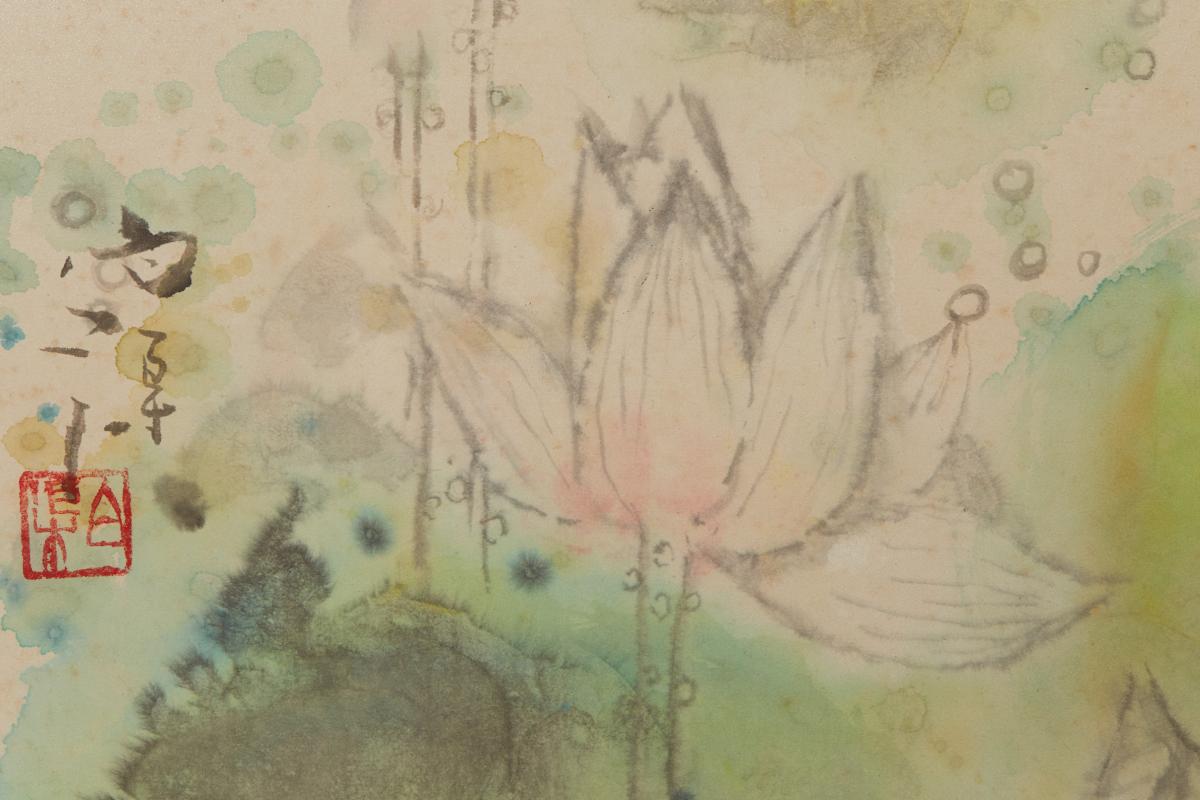 BAI QU (CHINESE, B.1939) - LOTUS FLOWERS - Image 2 of 2