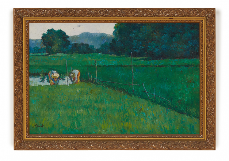 Lot 1 - NOPARAT LIVISIDDHI (THAI, B.1932) - GREEN RICE FIELDS