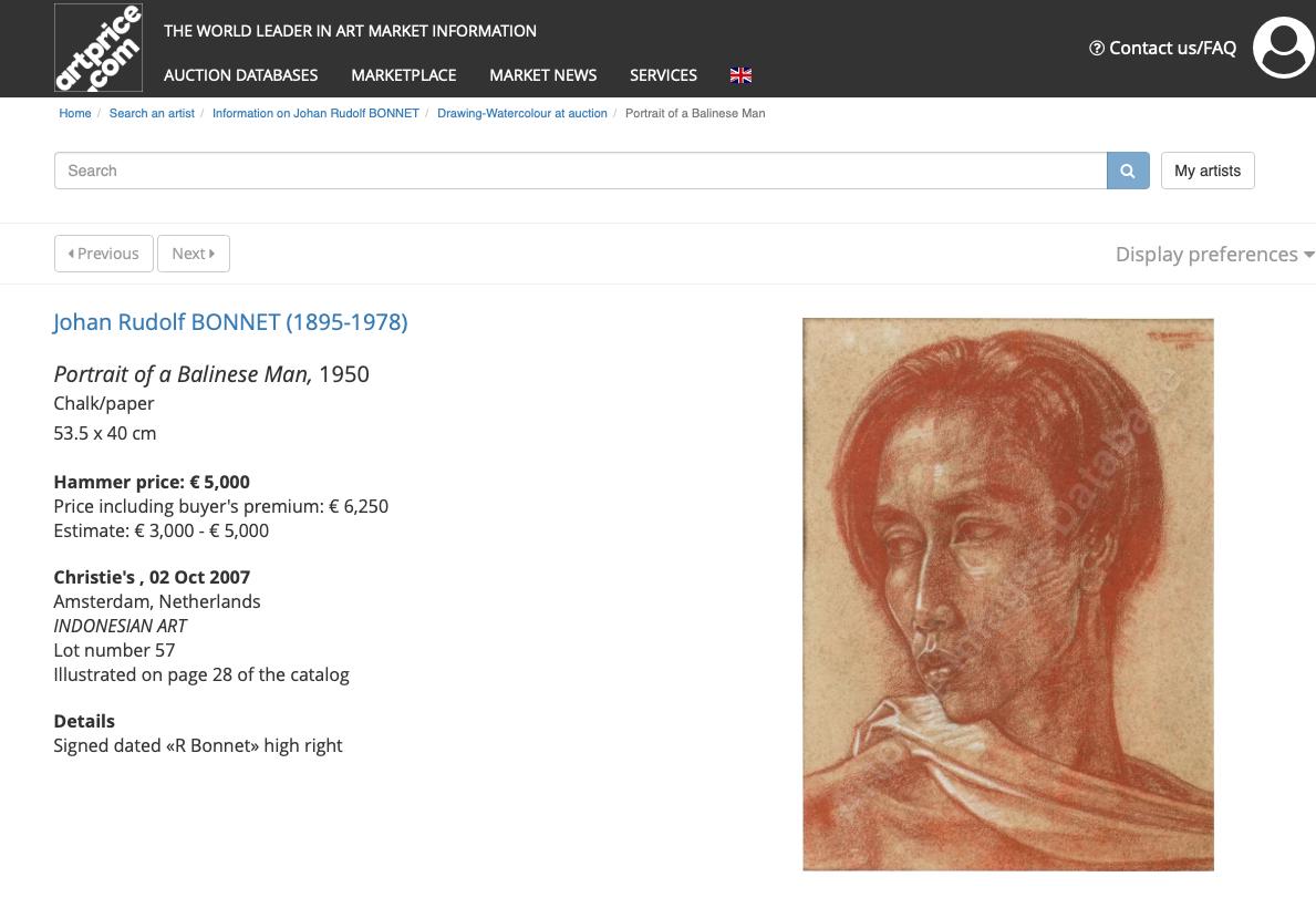 JOHAN RUDOLF BONNET (DUTCH, 1895-1978) - PORTRAIT OF A BALINESE MAN - Image 4 of 5