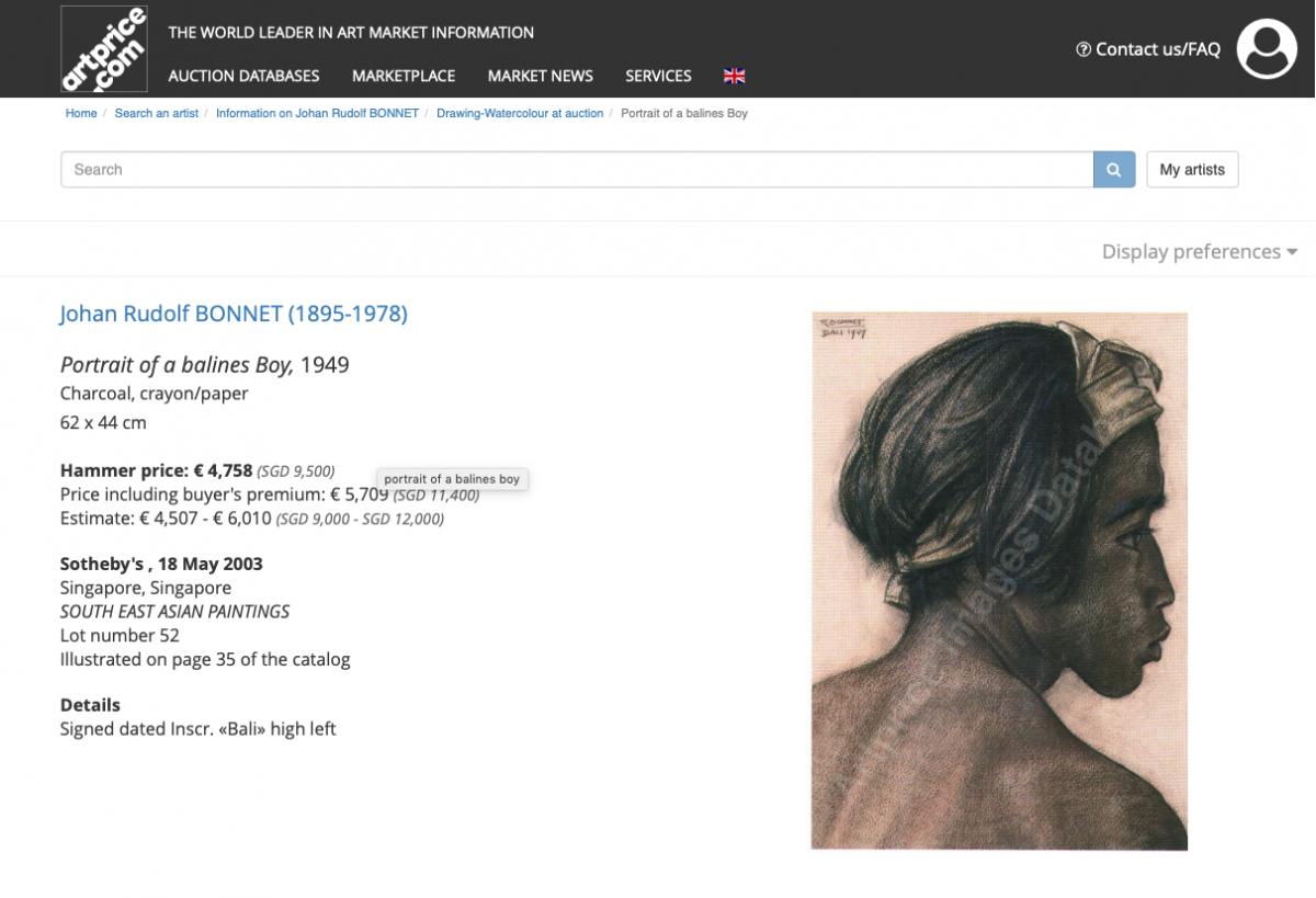 JOHAN RUDOLF BONNET (DUTCH, 1895-1978) - PORTRAIT OF A BALINESE MAN - Image 5 of 5