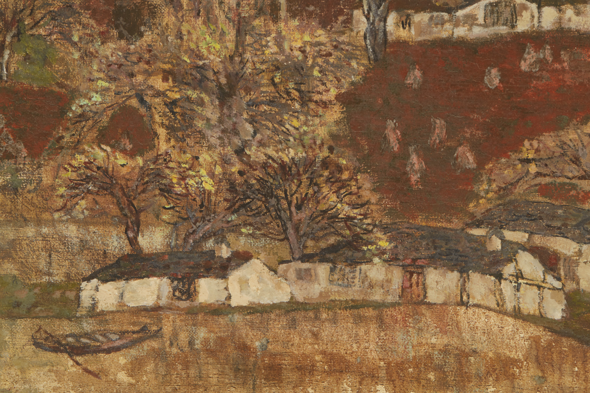 Lot 15 - ASIAN SCHOOL (20TH CENTURY) - HOUSES ON A MOUNTAINSIDE