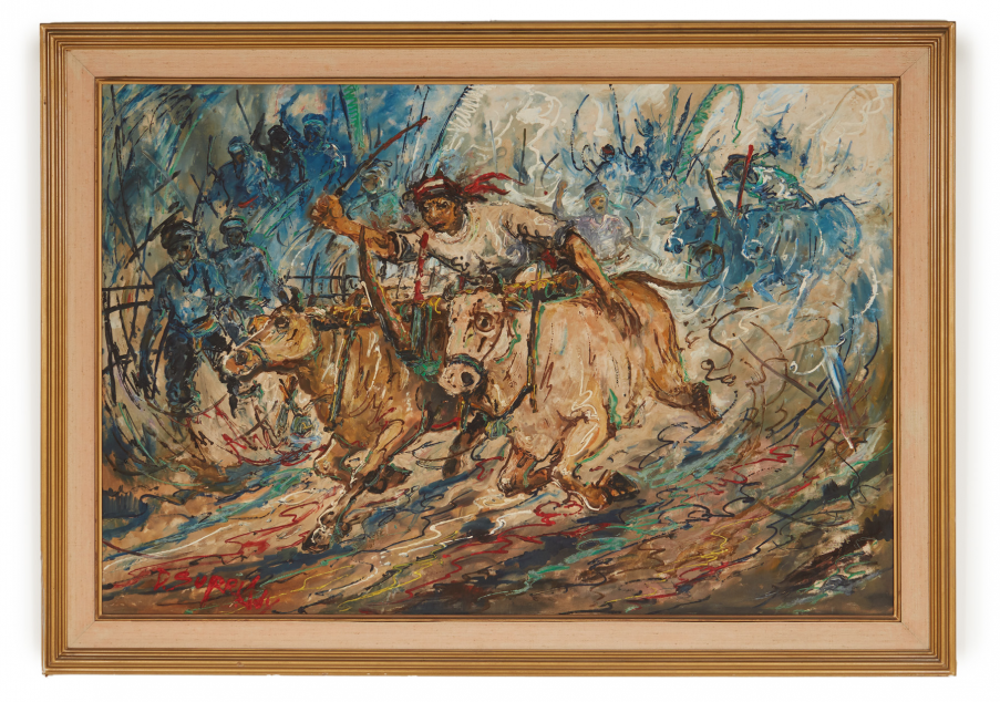Lot 13 - FOLLOWER OF AFFANDI (INDONESIAN, 20TH CENTURY) - BULL RACE