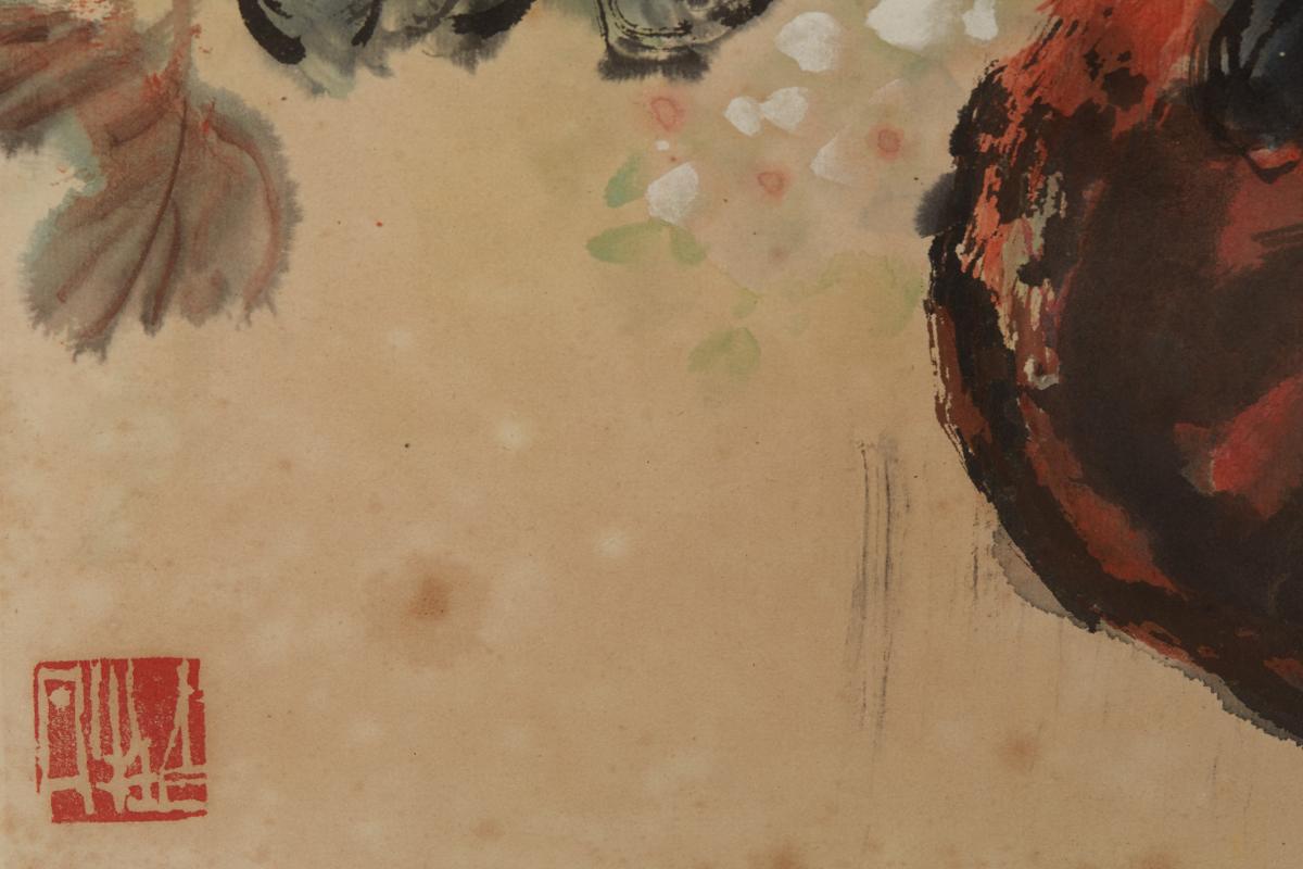 BAI QU (CHINESE, B.1939) - VASE OF PEONIES - Image 3 of 3