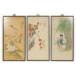 CHINESE SCHOOL (20TH CENTURY) - THREE WATERCOLOURS