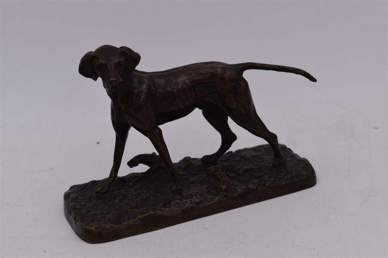 Lot 150 - Pierre-Jules MENE (1810-1879), Chien braque seul n°3, Épreuve en bronze à patine [...]