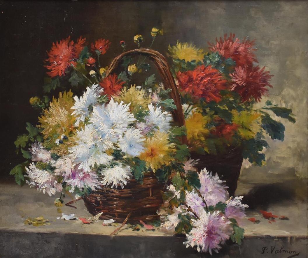 """Lot 316 - P. VALMON """"Bouquet de fleurs dans un panier"""" Huile sur toile, signée en bas à [...]"""