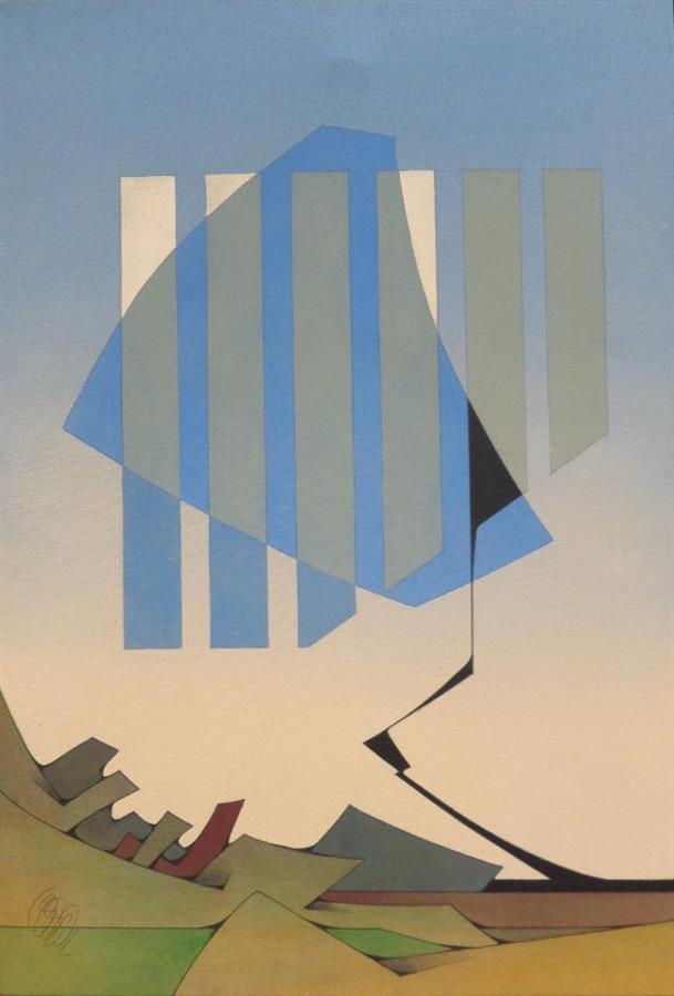 """Lot 215 - FERRER Joachim (né en 1929), """"La terre touche le nuage"""" Acrylique sur toile, signée [...]"""