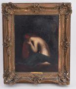 """Lot 317 - Jean-Jacques HENNER (genre de) """"Femme agenouillée pleurant"""" huile sur toile, H. 35 [...]"""