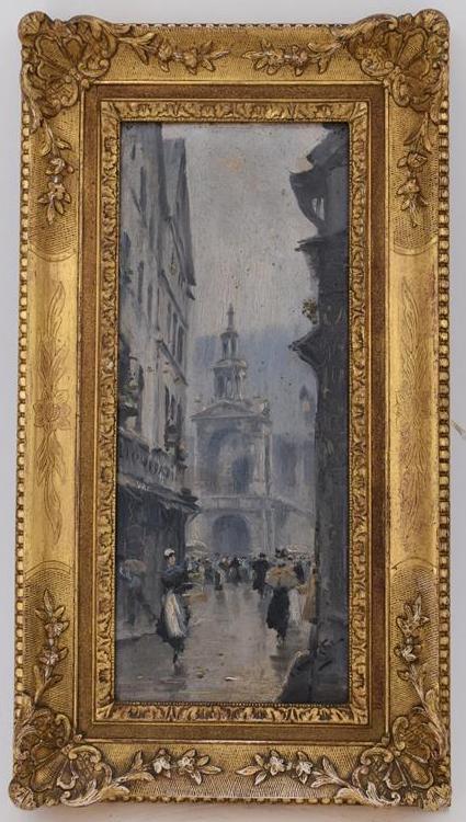 """Lot 112 - Léon Jules LEMAITRE """"Rouen la Fierte"""" Huile sur panneau, signé en bas à droite. 33 [...]"""