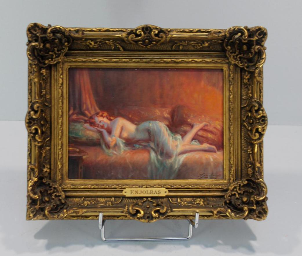 """Lot 308 - Delphin ENJOLRAS (1857-1945) """"Femme nue allongée"""" Huile sur panneau signé, en bas [...]"""