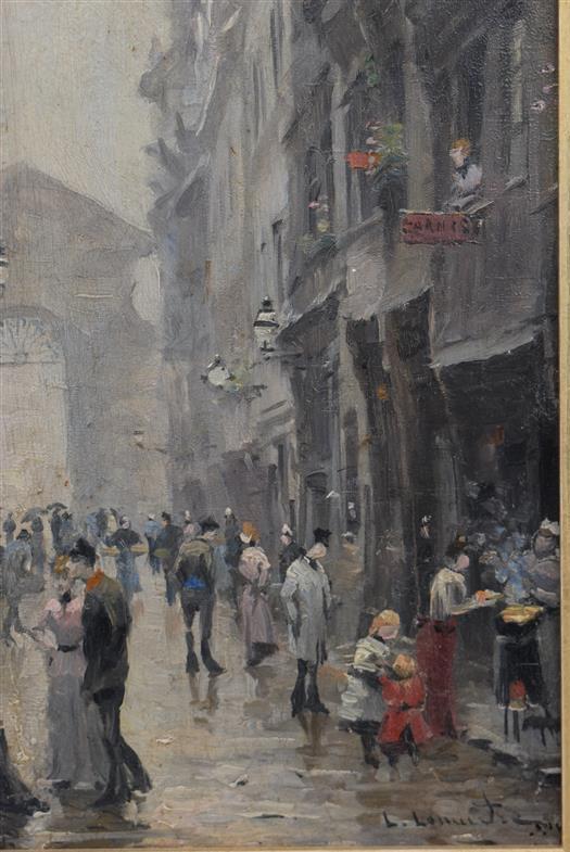 """Lot 106 - Léon Jules LEMAITRE, """"Rouen rue des Arpents"""", huile sur panneau d'acajou, 40x15,5cm, [...]"""