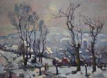 """Lot 314 - """"Le Mont Gargan sous la neige"""" Huile sur toile réplique d'une oeuvre originale de [...]"""