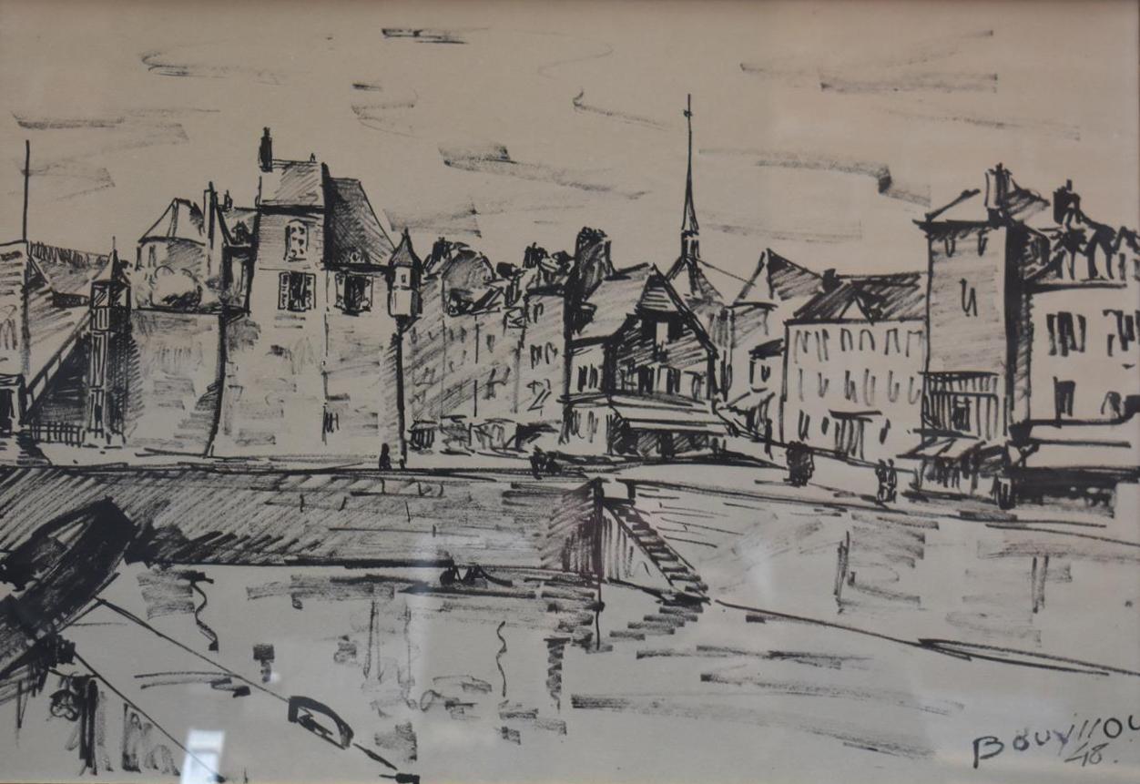 """Lot 167 - Jacques BOUYSSOU, """"vue d'Honfleur"""", 30,5 x 43 cm, Encre signée en bas à droite [...]"""