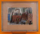 Lot 179 - MAX MÜLLER (1911-1991) Aquarelle sur papier sous verre signée en haut à gauche, [...]