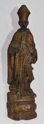 Lot 195 - Statuette d'évêque en bois sculpté, XVIIème siècle (trous de vers, tête [...]