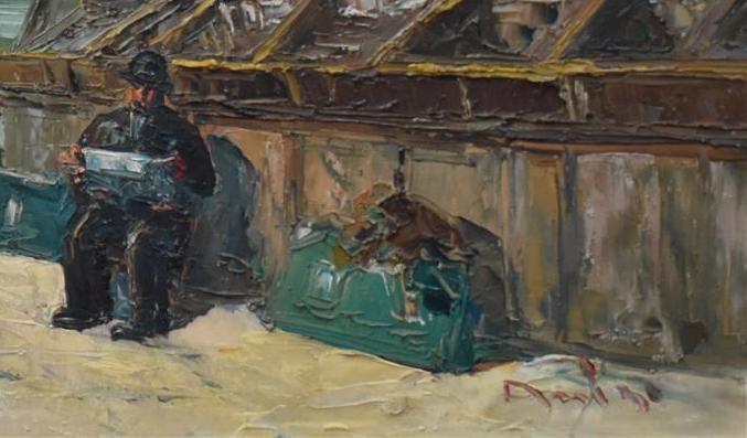 Lot 225 - Ecole moderne, Bouquinistes à Paris, huile sur panneau, H. 48,5 cm ; L.94 cm, signé [...]