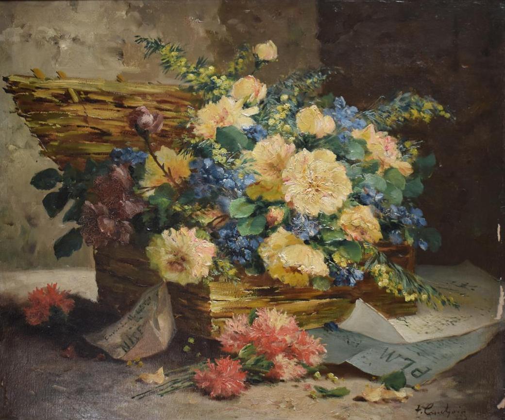 """Lot 315 - Henri CAUCHOIS (1850-1911) """"Bouquet de fleurs dans une malle"""" Huile sur toile, [...]"""