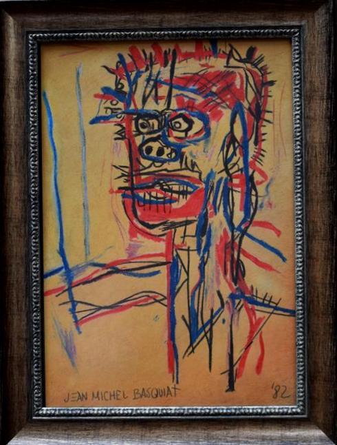 Lot 178 - Jean- Michel BASQUIAT (dans le goût de), Portrait d'homme, encre, fusain et gouache, [...]