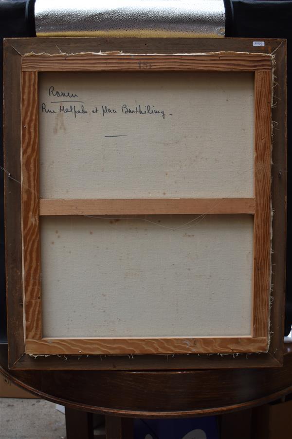 """Lot 319 - Louis Jacques VIGON""""Rouen rue Malpalu et Place Barthélémy"""" Huile sur toile, signée [...]"""