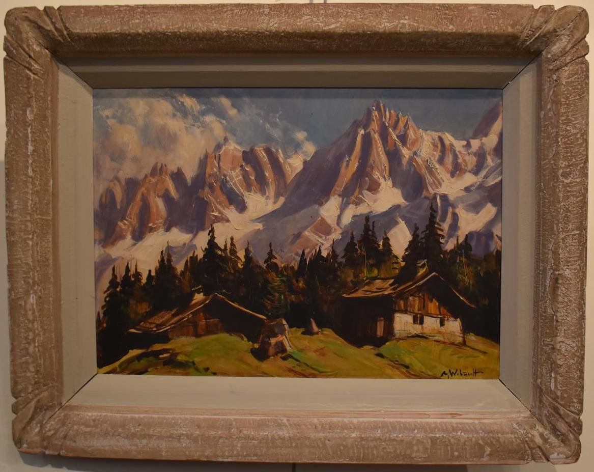 """Lot 307 - Marcel WIBAULT (1905-1998) """"Les Aiguilles de Chamonix"""" Huile sur panneau d'isorel, [...]"""