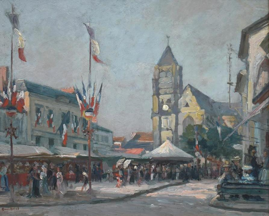 """Lot 305 - Narcisse GUILBERT, """"Le 14 Juillet"""", huile sur panneau, 38 x 49 cm, signé en bas à [...]"""