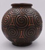 Lot 259 - JOSEPH MOUGIN (1876-1961) & NANCY - Vase boule sur talon et col ourlé en grès à [...]