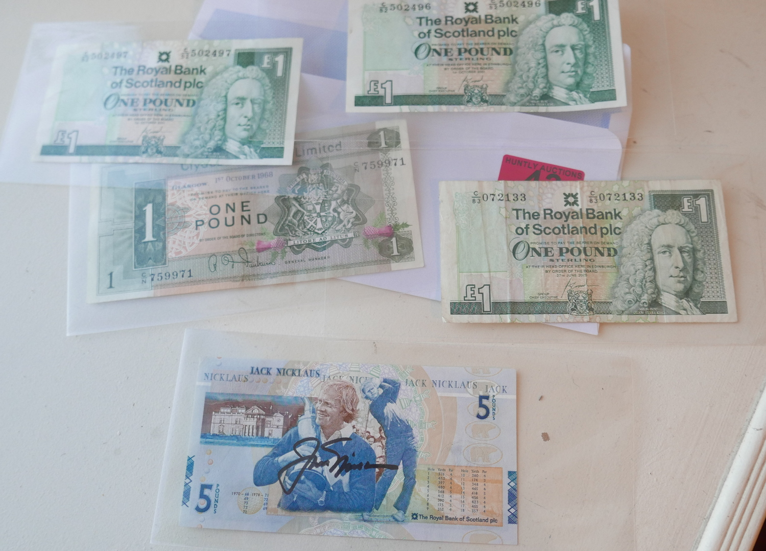 Lot 43 - Lot of Signed Jack Nicklaus Royal Bank of Scotland £5 Banknote and other Scottish Banknotes.