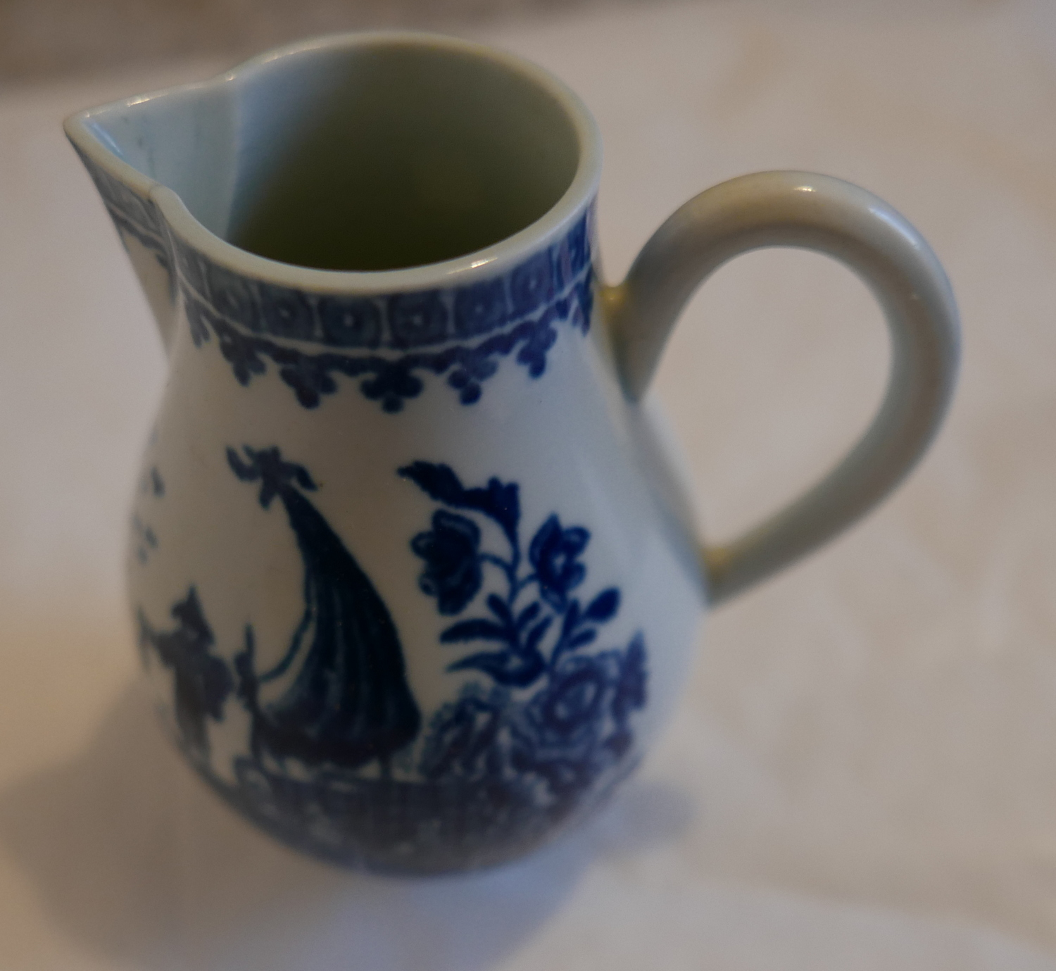 "Lot 53 - Antique 18th Century English Porcelain Sparrow Beak Jug 3 1/2"" tall - excellent cond."