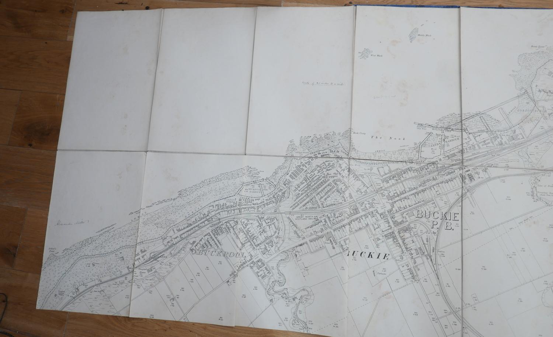 "Lot 94 - Antique Folding 16 part map of Buckie, Moray, Scotland - map closed 15 1/2"" x 9 3/4"""
