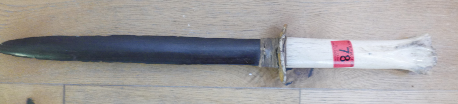 """Lot 78 - Antique Cermonial Bone Handled Knife with Wooden Blade (Inuit ?) - 21 1/8"""" long."""