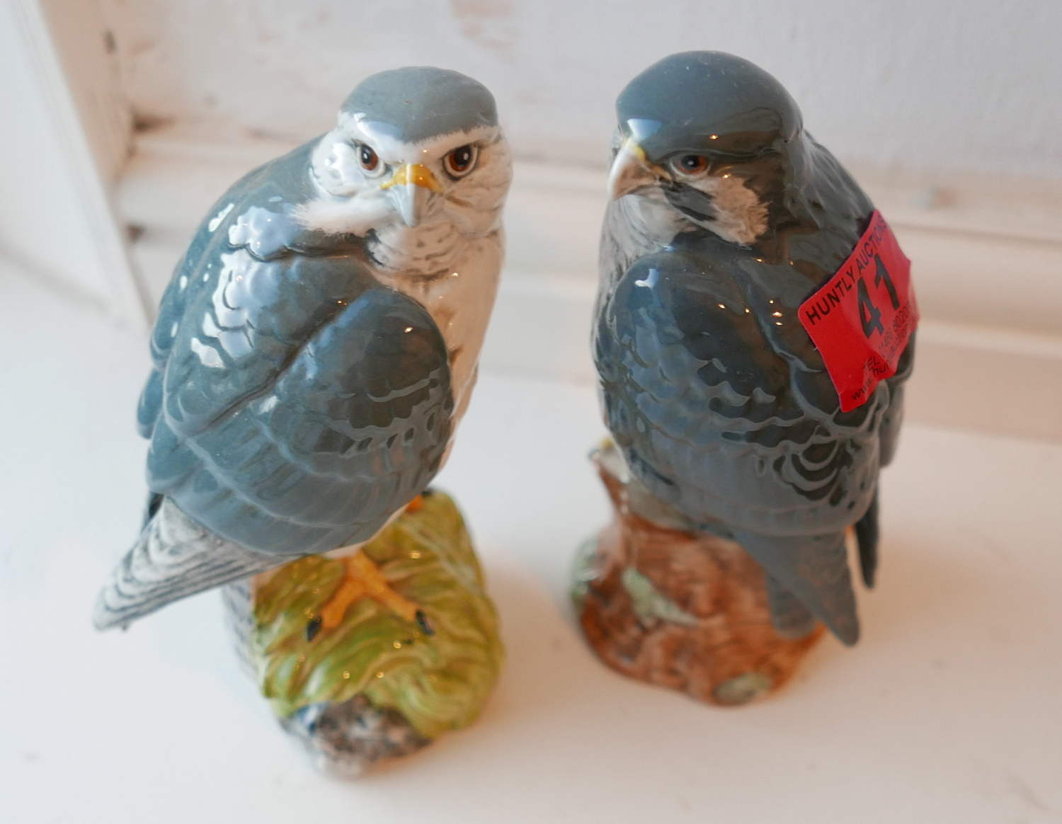 Lot 41 - Lot of Beswick Ceramic Merlin and Peregrine Falcon Decanters sealed and full of Whisky.