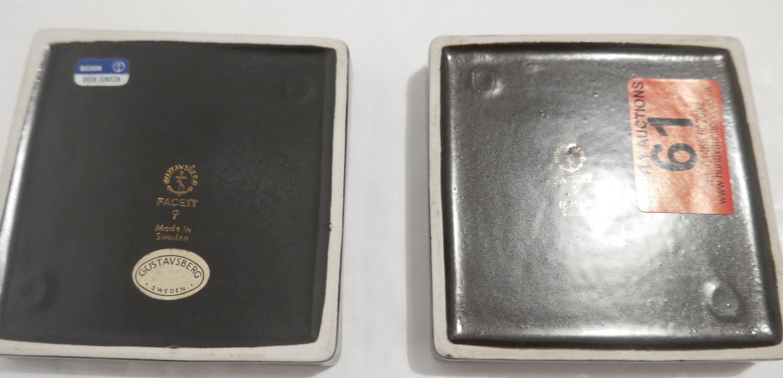 "Lot 61 - Pair of Swedish Gustavsberg (Sven Jonson) Facett Pin Trays - approx 3 1/2"" (88mm) square."