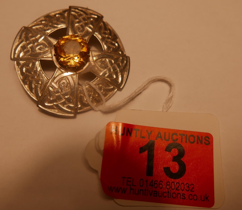 Lot 13 - John Hart Iona Silver Brooch - 42mm diameter.
