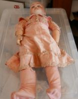 """Lot 460 - Antique French Bisque Headed Doll - 23"""" tall."""
