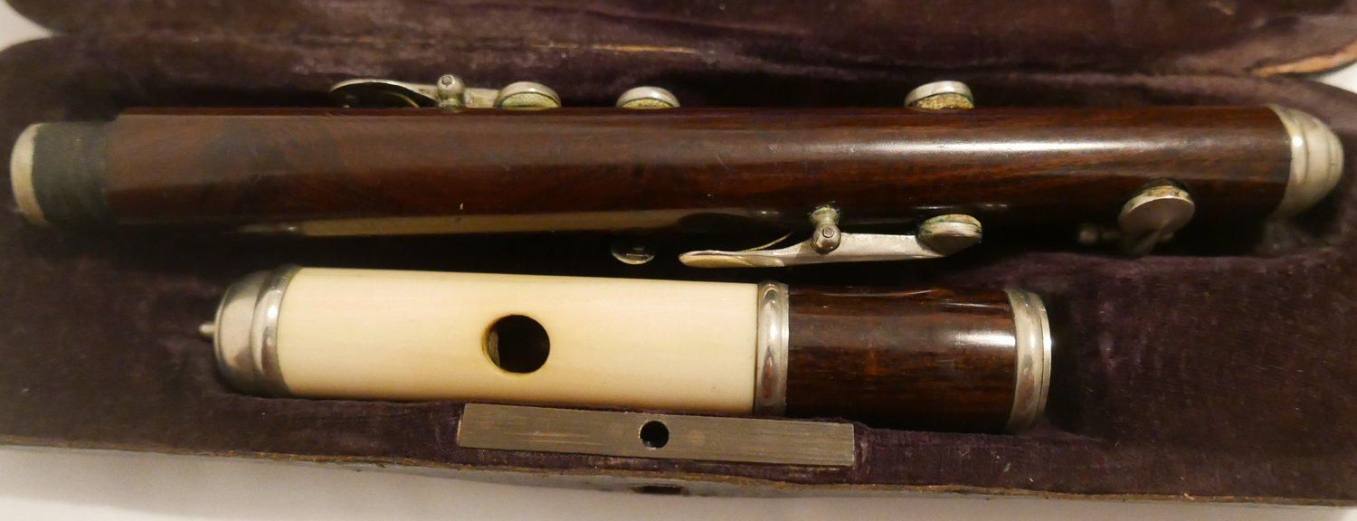 "Lot 46 - Antique Cased Nach Meyer Rosewood and Ivory Flute - 12"" long."
