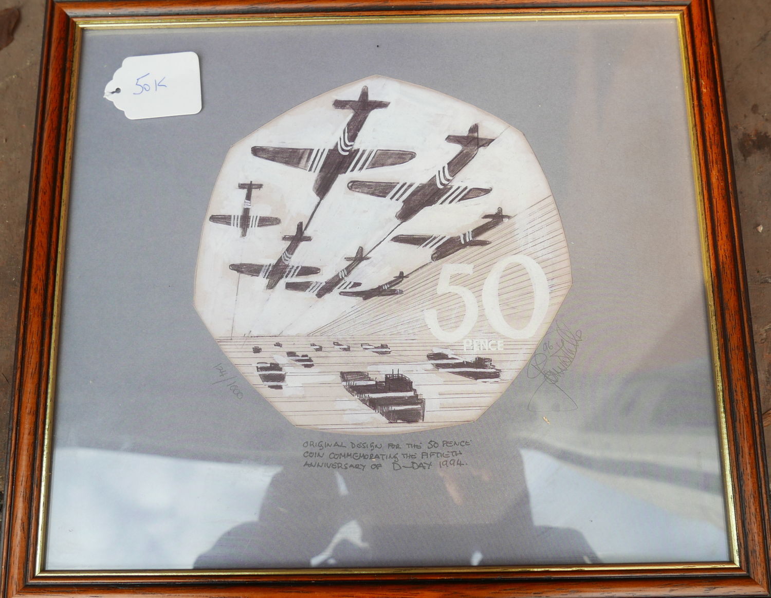 Lot 50K - Original Framed Design Print for the 50p commemorating the 50th anniversary of D Day by John Mills.