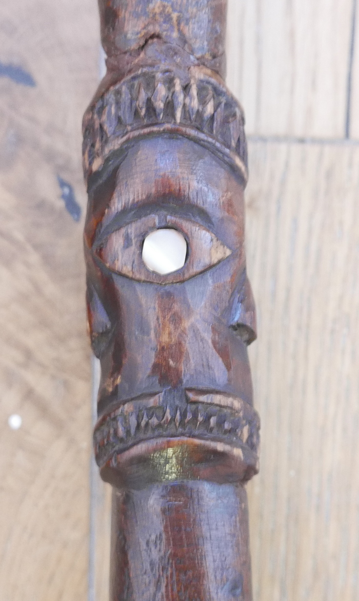 "Lot 75 - Maori Tribal Tewhatewha Staff - 47 1/2"" (121cm) tall with a 6"" x 5 1/2"" head."