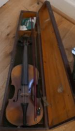 "Lot 252 - Antique19th C German Violin marked HOPF - 24"" overall - 14"" back in Antique Wooden Violin Case."