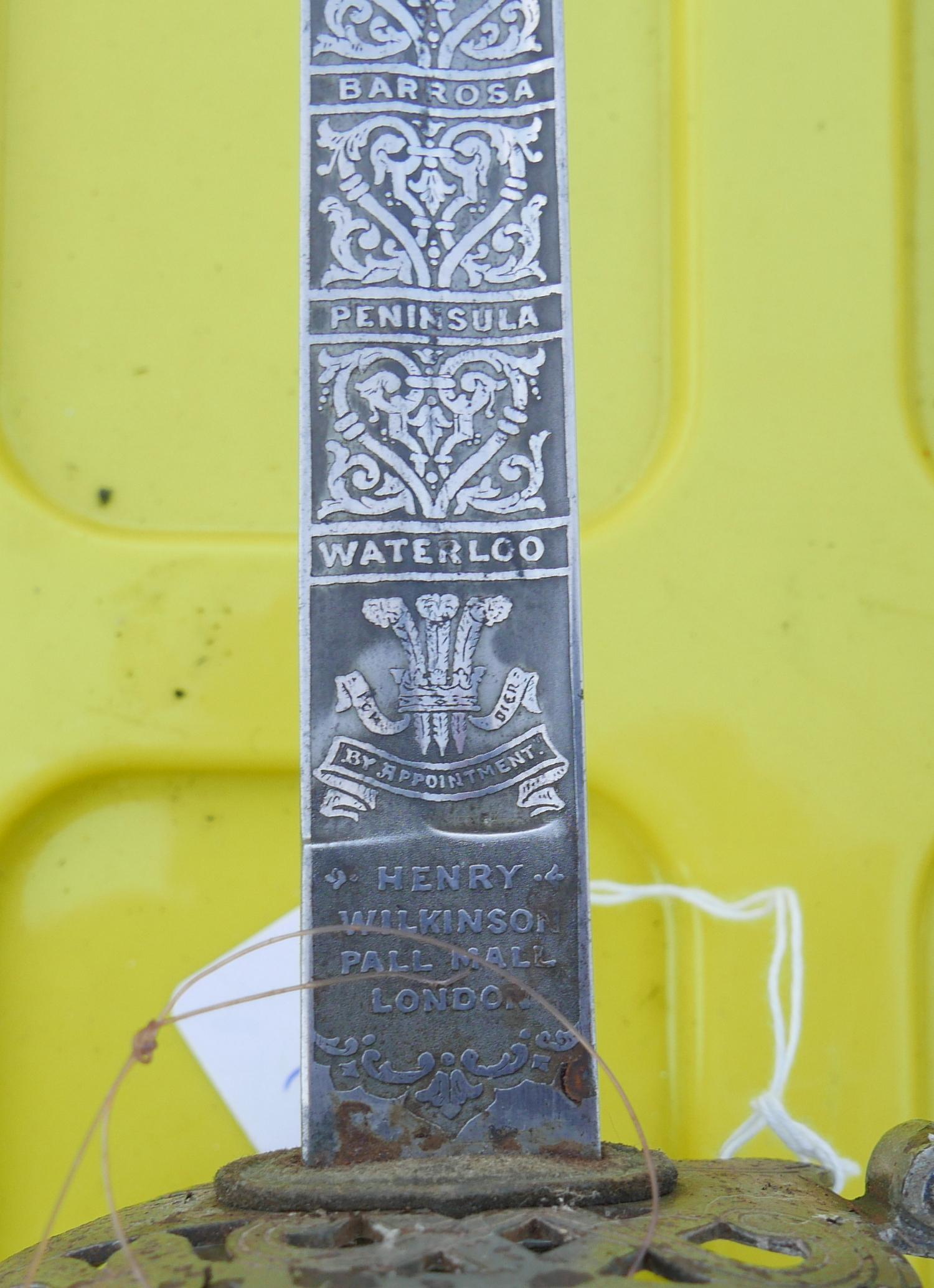 Lot 50C - Antique Henry Wilkinson Ceremonial Sword - blade inscribed with details of various Battles.