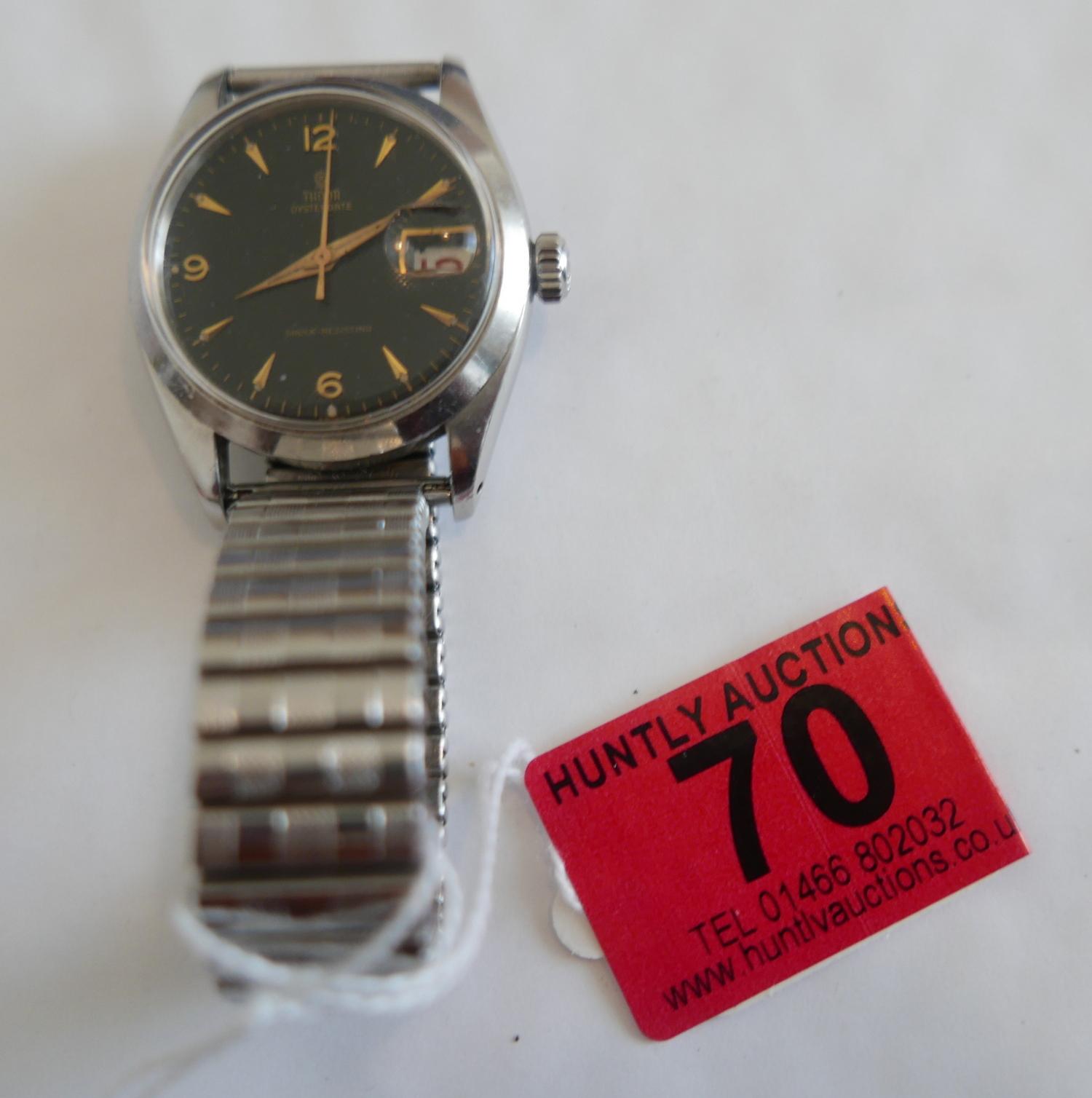 Lot 70 - Rolex Tudor Oysterdate Date - black dial 266137 - 7939 case numbers.
