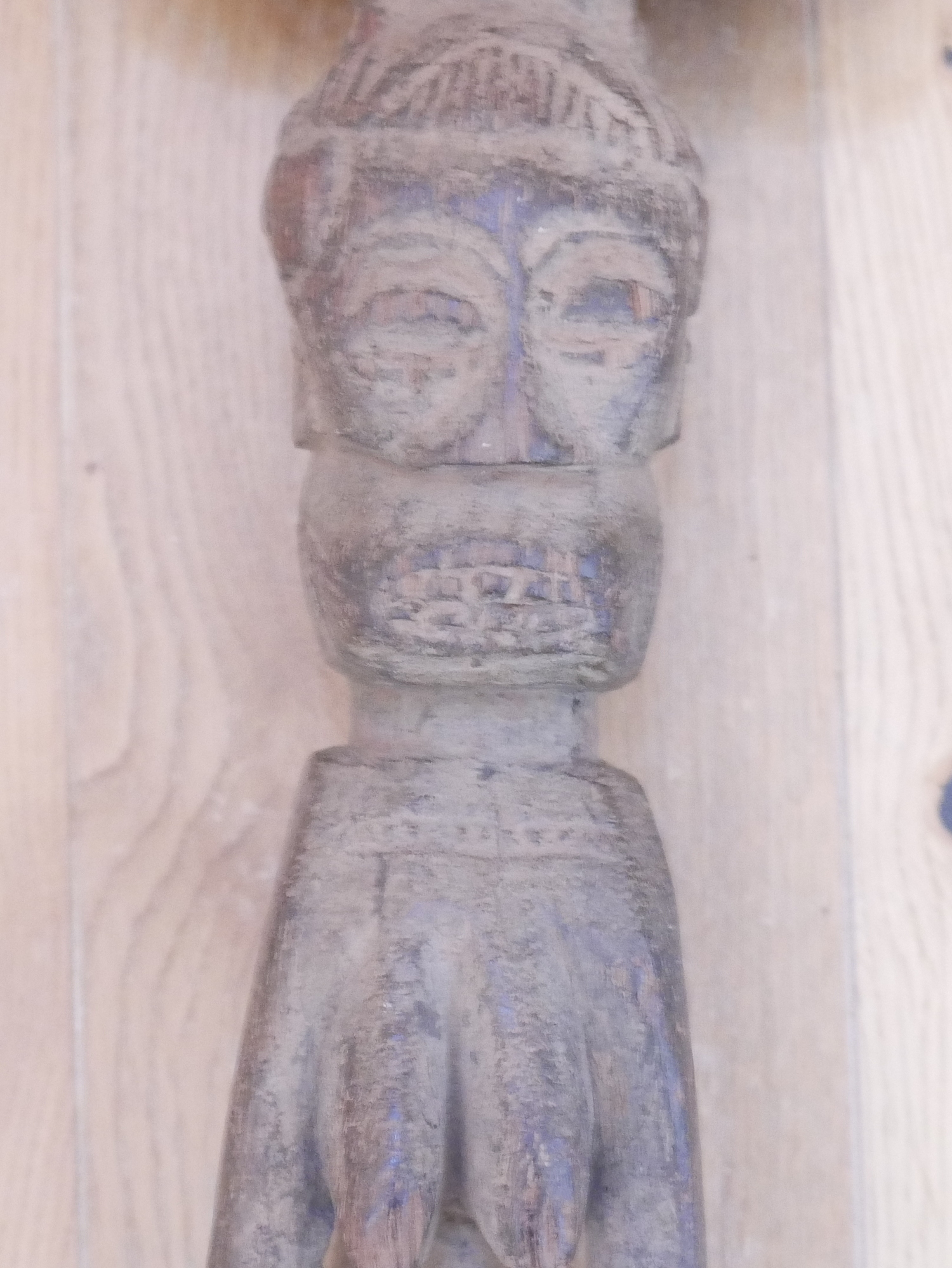 """Lot 76 - African Tribal Yuroba Staff - 25 1/2"""" tall with a 6"""" x 5"""" head."""