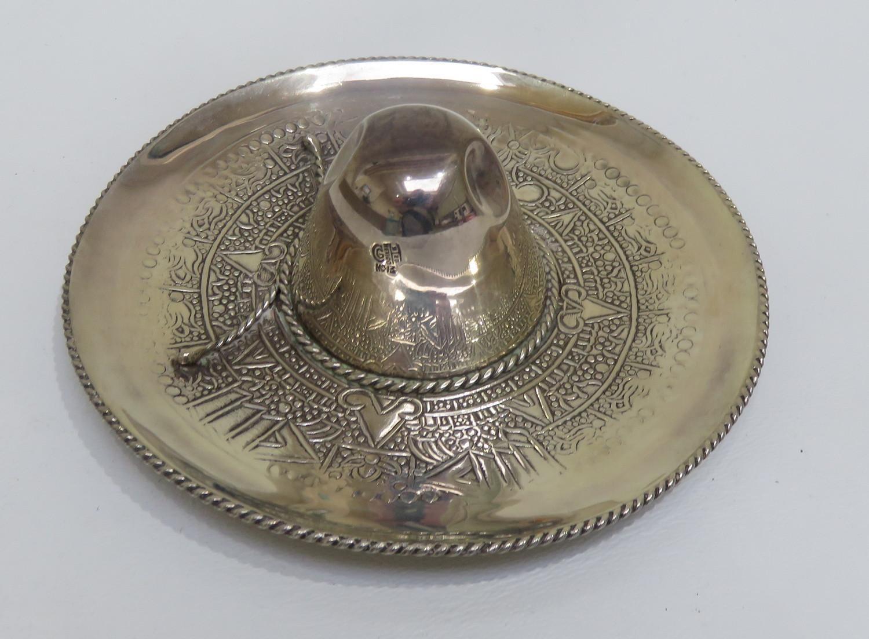 "Lot 88 - Vintage Mexican Taxco Silver Sombrero Hat Dish - 4 3/4"" (120mm) diameter."
