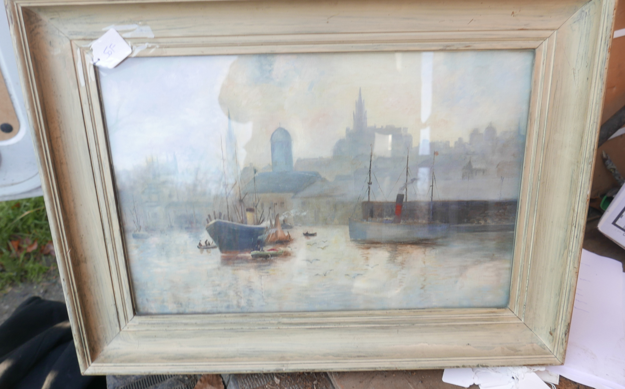 "Lot 50F - Antique Oil Painting of Aberdeen Harbour 26"" x 19""."