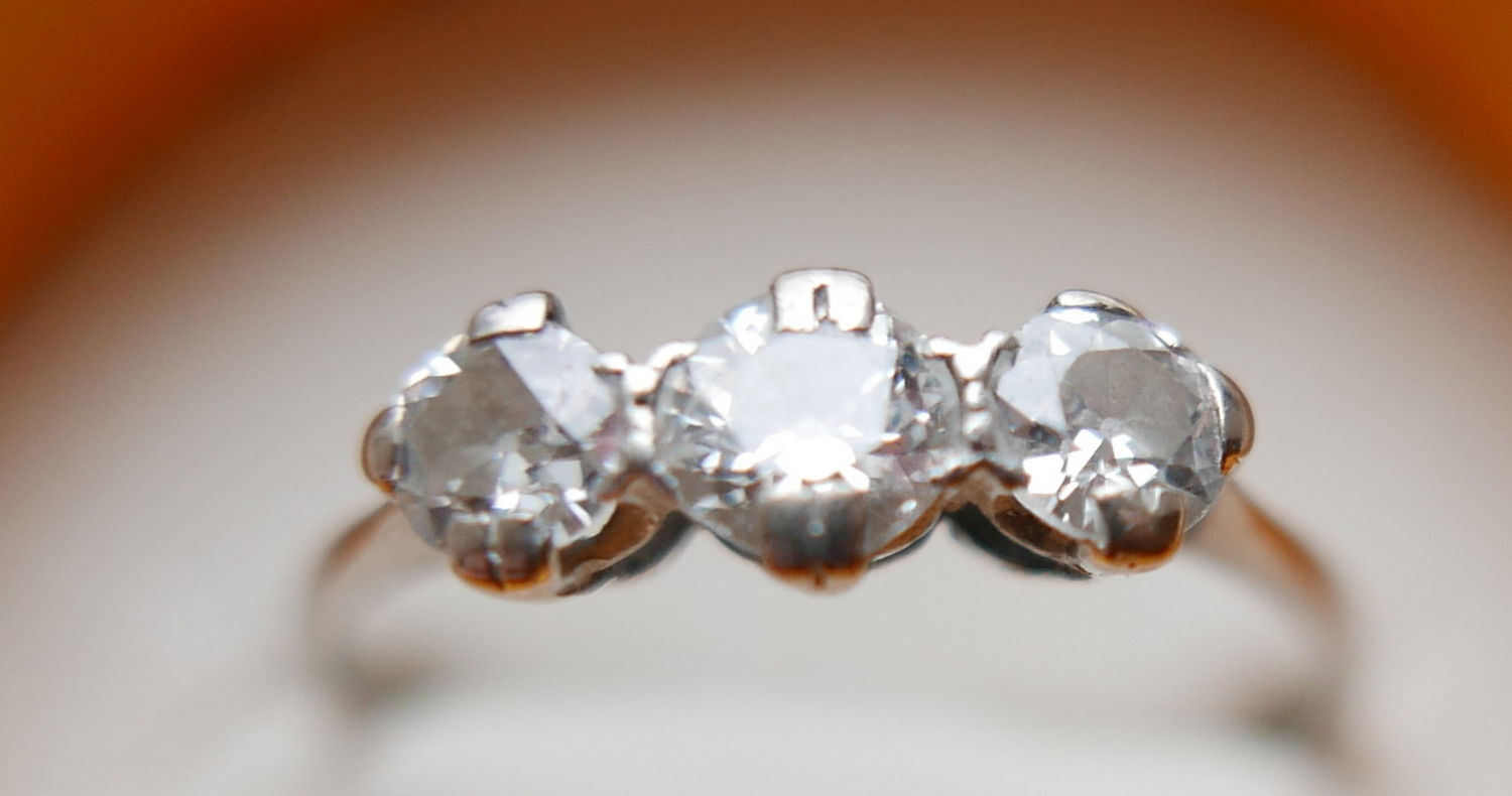 Lot 50Z - Antique/Vintage 3 Stone Platinum and Diamond Ring approx 0.75 carat total.