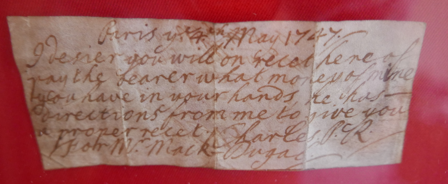 """Lot 19 - Charles Edward Stewart """"Bonnie Prince Charlie"""" Promissory Note inscribed Paris 4th May 1747."""