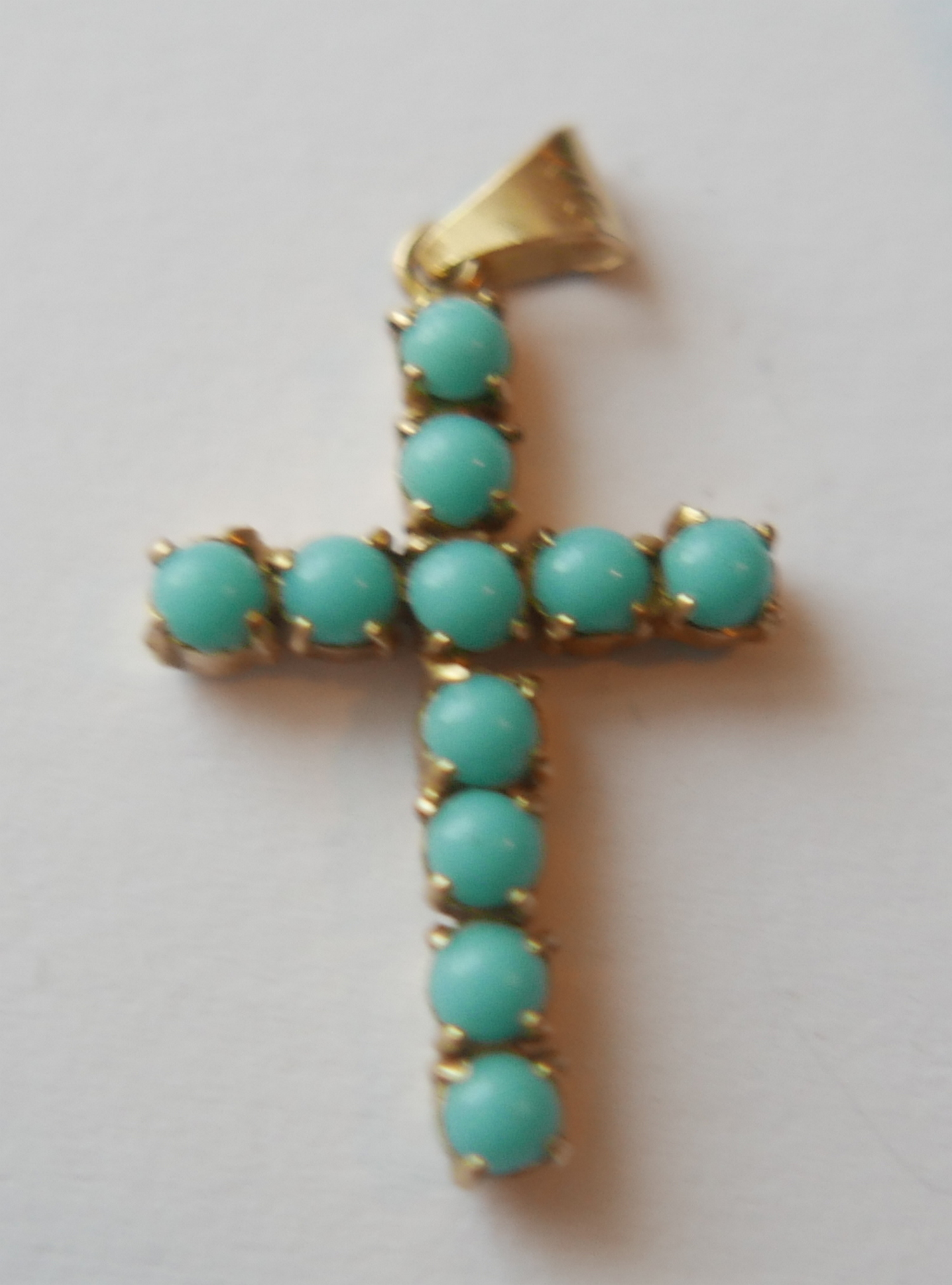 Lot 21 - Lot of 18k Gold&Turquoise Cross and Boxed 9 karat Gold&Diamond Earrings.